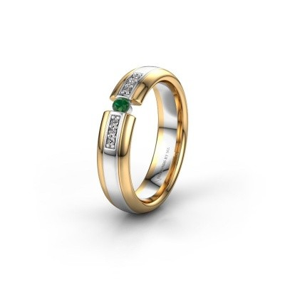Wedding ring WH2128L26C 585 white gold emerald ±5x2 mm
