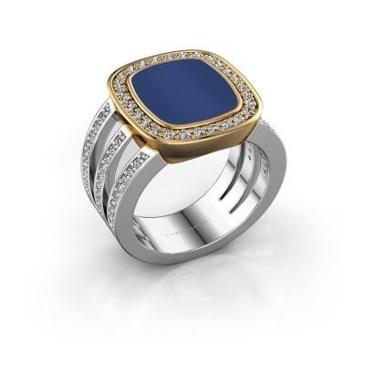 Foto van Zegelring Tijn 585 witgoud lapis lazuli 13x11 mm