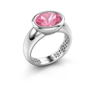 Bague Evelyne 585 or blanc saphir rose 10x8 mm