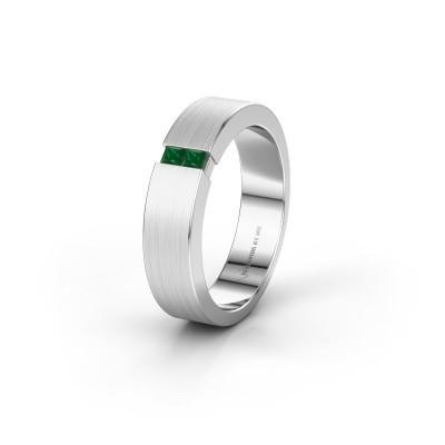 Trouwring WH2136L15E 925 zilver smaragd ±5x2.6 mm