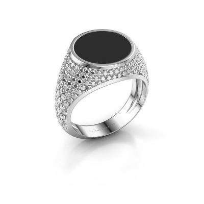 Zegelring Zachary 2 925 zilver zwarte emaille 12 mm