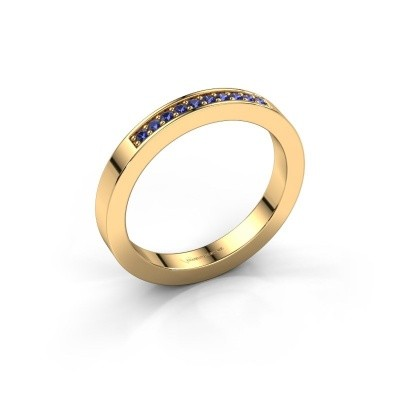Stackable ring Loes 3 375 gold sapphire 1.3 mm