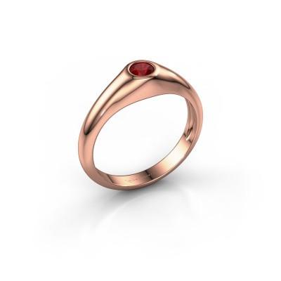 Foto van Pinkring Thorben 375 rosé goud robijn 4 mm