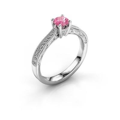 Belofte ring Shonta RND 950 platina roze saffier 4.7 mm