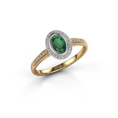 Engagement ring Noud 2 OVL 585 gold emerald 6x4 mm
