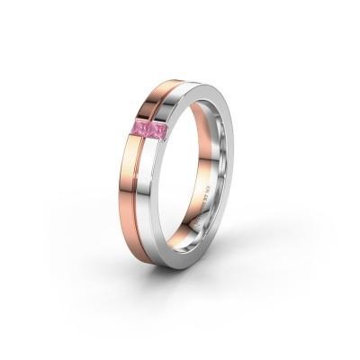 Trouwring WH0225L14B 585 rosé goud roze saffier ±4x2 mm