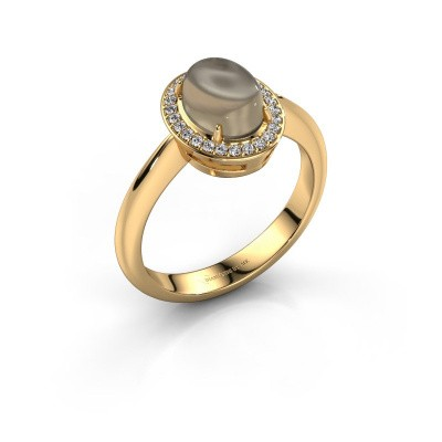 Ring Kristian 585 goud rookkwarts 8x6 mm