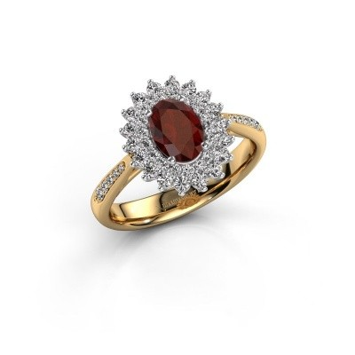 Engagement ring Alina 2 585 gold garnet 7x5 mm