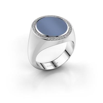 Zegelring Adam 5 585 witgoud licht blauwe lagensteen 15x13 mm