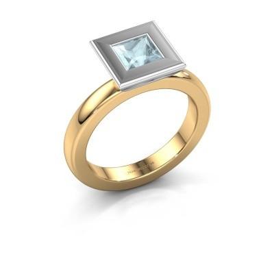 Stapelring Eloise Square 585 goud aquamarijn 5 mm