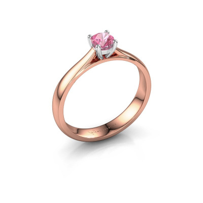 Engagement ring Sam 585 rose gold pink sapphire 4.2 mm