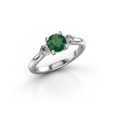 Foto van Verlovingsring Lieselot RND 585 witgoud smaragd 6.5 mm