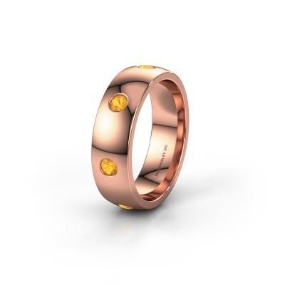 Wedding ring WH0105L26BP 375 rose gold citrin ±6x2 mm