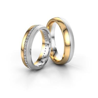 Foto van Trouwringen set WH0203LM25BPM ±5x2 mm 14 karaat goud diamant 0.44 crt