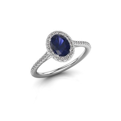 Picture of Engagement ring Seline ovl 2 585 white gold sapphire 7x5 mm