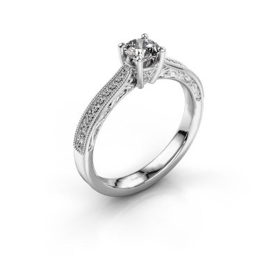 Photo de Bague de fiançailles Shonta RND 585 or blanc diamant 0.53 crt