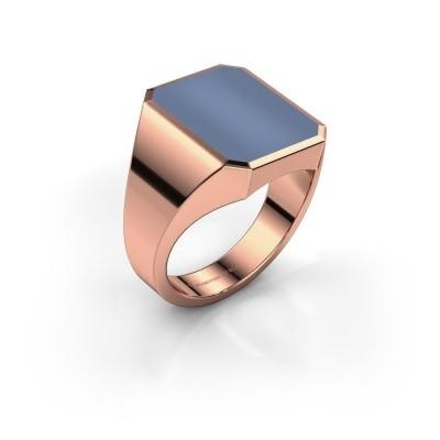Foto van Zegelring Lars 4 375 rosé goud licht blauwe lagensteen 15x12 mm