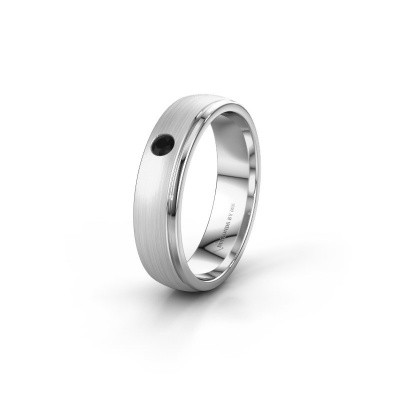 Trouwring WH0501L25AMP 925 zilver zwarte diamant ±5x1.7 mm