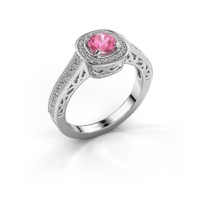 Verlovings ring Candi 950 platina roze saffier 5 mm