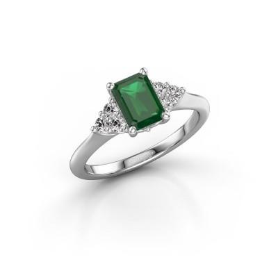 Foto van Verlovingsring Felipa EME 950 platina smaragd 7x5 mm