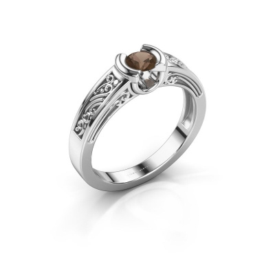 Picture of Engagement ring Elena 925 silver smokey quartz 4 mm
