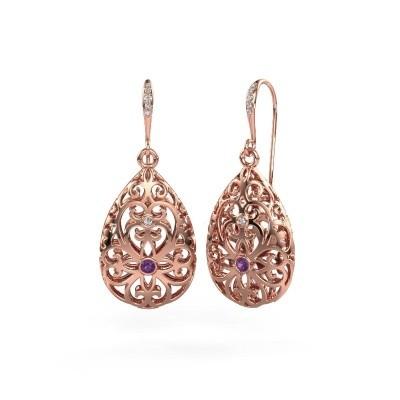 Picture of Drop earrings Idalia 2 375 rose gold amethyst 2 mm