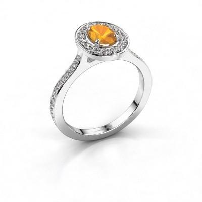 Ring Madelon 2 950 platina citrien 7x5 mm
