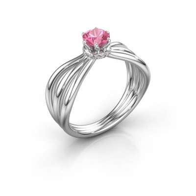 Engagement ring Kimi 585 white gold pink sapphire 5 mm