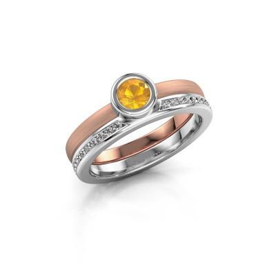 Foto van Ring Cara 585 rosé goud citrien 4 mm