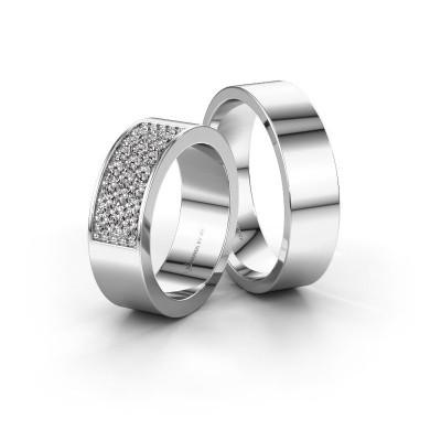 Foto van Trouwringen set WHR0293LM16AP ±5x2.3 mm 14 karaat witgoud diamant 0.02 crt