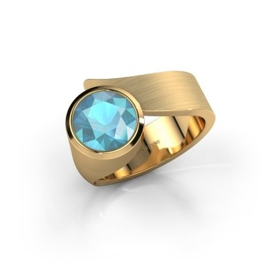 Ring Nakia 585 gold blue topaz 8 mm