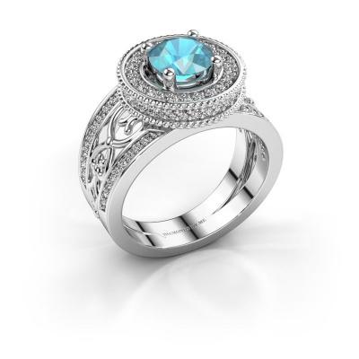Ring Joy 585 witgoud blauw topaas 6.5 mm
