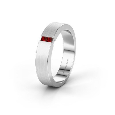 Wedding ring WH2136M15E 925 silver garnet ±5x2.4 mm