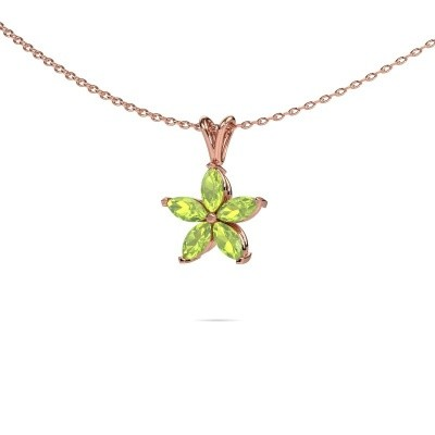 Picture of Necklace Sylvana 375 rose gold peridot 5x2.5 mm