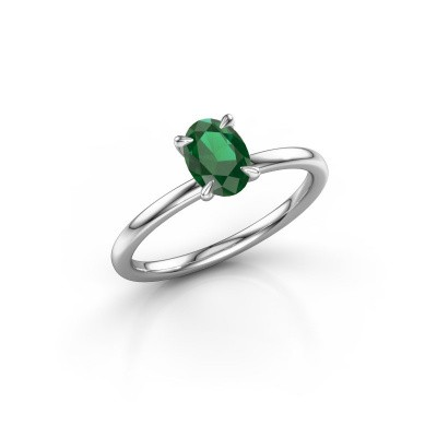 Foto van Verlovingsring Crystal OVL 1 585 witgoud smaragd 7x5 mm