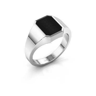 Signet ring Glenn 1 375 white gold onyx 10x8 mm