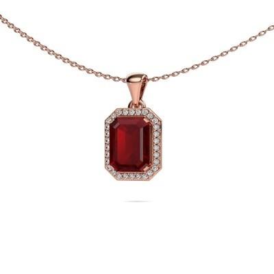 Ketting Dodie 375 rosé goud robijn 9x7 mm