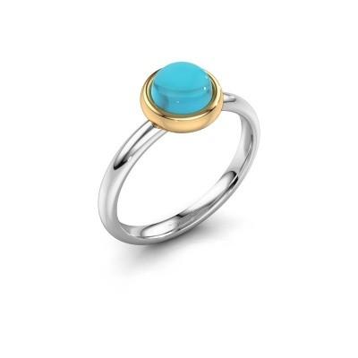 Ring Blossom 585 witgoud blauw topaas 6 mm