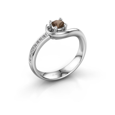 Ring Ceylin 950 platinum smokey quartz 4 mm