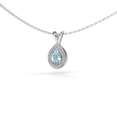 Picture of Necklace Ginger 585 white gold aquamarine 6x4 mm