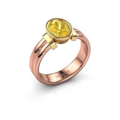 Ring Gerda 585 rosé goud gele saffier 8x6 mm