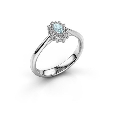 Picture of Engagement ring Leesa 1 585 white gold aquamarine 6x4 mm
