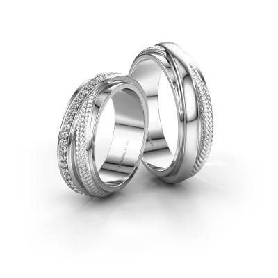 Foto van Trouwringen set WHR0080LM ±6x2.2 mm 14 karaat witgoud diamant 0.008 crt