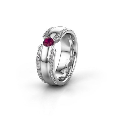 Wedding ring WHR0575L 925 silver rhodolite ±7x2 mm