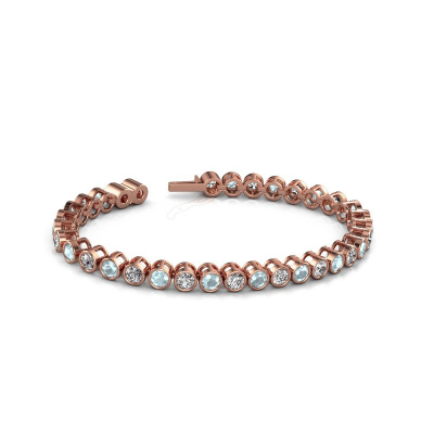 Foto van Tennisarmband Allegra 4 mm 375 rosé goud aquamarijn 4 mm