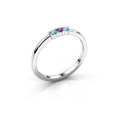 Verlovings ring Yasmin 3 925 zilver amethist 2 mm