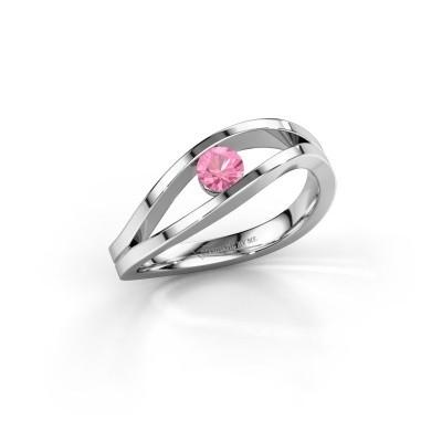 Aanzoeksring Sigrid 1 585 witgoud roze saffier 3.7 mm