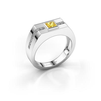 Herrenring Robertus 2 585 Weißgold Gelb Saphir 4 mm