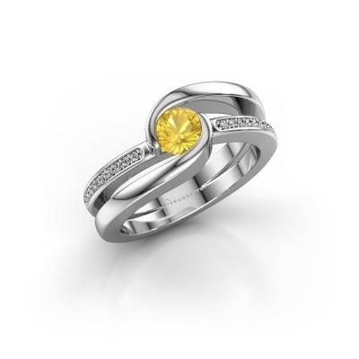 Foto van Ring Xenia 2 925 zilver gele saffier 5 mm