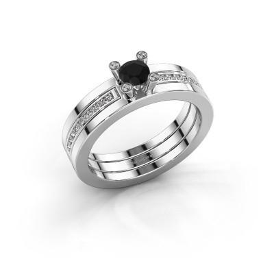 Foto van Ring Alisha 925 zilver zwarte diamant 0.41 crt